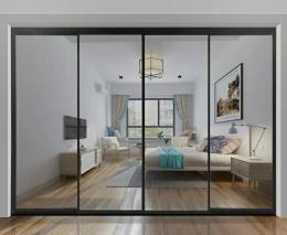 洛陽窄邊框平開門中空玻璃推拉門吊軌隔斷門