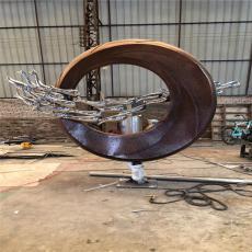 水景仿古铜圆环不锈钢雕塑 鲤鱼跃龙门