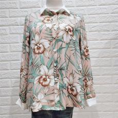 春夏新款歐美氣質長袖T恤衫 翻領顯瘦印花上