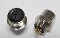 传感器插座-M12扁法兰板后安装不带线插座