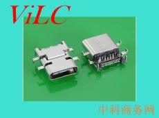 USB 3.1 C TYPE 母头沉板前插后贴24P 编带
