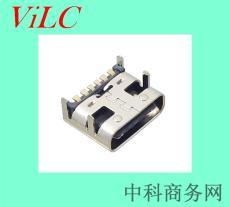 大电流-TYPE C母头-6P贴板闪充type-C连接器