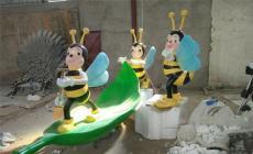公园景观玻璃钢昆虫蜜蜂卡通雕塑落地摆件