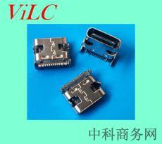 卧式长度7.35mmTYPE C 16P母座/四脚DIP有柱