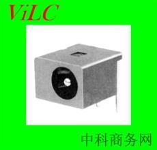 90度插件 圆针DC电源插座DC00440 LCP黑胶