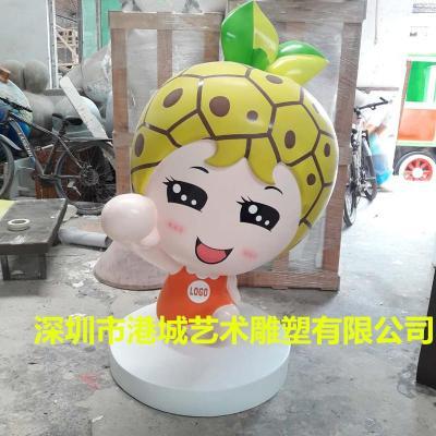 玻璃钢水果菠萝卡通公仔雕塑落地摆件