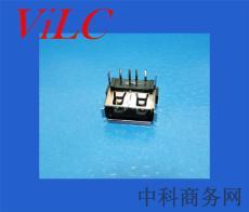 短体10.6USB母座-卷边AF/后二脚DIP-LCP黑胶