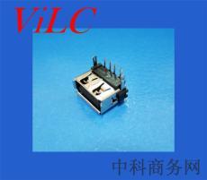 后二脚鱼叉DIP/卷边USB母座-短体10.0 铜壳
