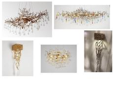 定制高端美式乡村艺术树枝玻璃吊灯