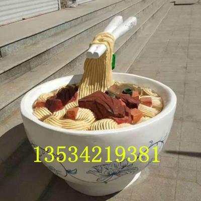东莞饭店开业迎宾玻璃钢筷子大碗面雕塑摆件