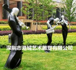 美陈装饰玻璃钢抽象音乐乐器人物雕塑艺术品