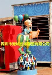 彩繪迎賓玻璃鋼小丑人物卡通叔叔雕塑美陳品