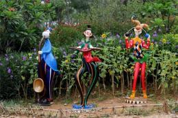 幼兒園玻璃鋼扮小丑叔叔雕塑裝飾快樂園區