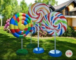 商场开业玻璃钢棒棒糖气球雕塑DP美陈摆件