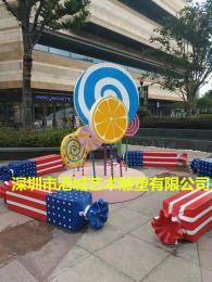 商业装饰玻璃钢棒棒糖雕塑深受市民喜爱
