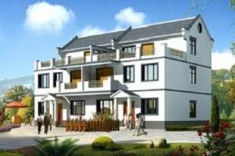 新中式三层双拼别墅设计图-房屋设计图