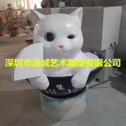 日本寿司店拍照玻璃钢卡通猫雕塑模型道具