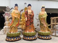 塑鋼西方三圣彩繪 西方三圣佛像圖片 佛像廠