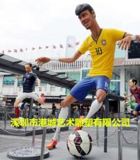 商業街玻璃鋼足球明星人物雕塑運動文化特色