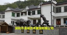农耕犁牛耕系列玻璃钢耕牛人物雕塑地标性