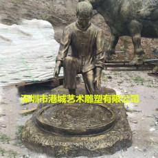 民族特色玻璃钢仿铜制茶人物雕像文化建设