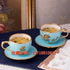 夫人瓷西湖蓝咖啡杯4头套装 手工镶金