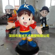 树脂吉祥物卡通公仔玻璃钢人偶雕塑落地摆件