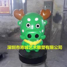 玻璃钢卡通动物雕塑美陈装饰树脂抽象猪公仔