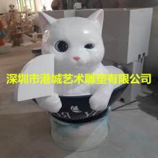 寿司店面橱窗拍照玻璃钢卡通猫雕塑摆件