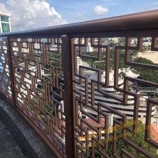 紫铜阳台护栏 别墅阳台栏杆 室外铜雕花护栏