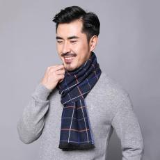 越缇美韩版新款男士几何卷边现货仿羊绒围巾