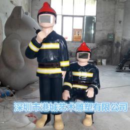 玻璃钢消防员人像雕塑合影模型道具之一