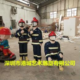 深圳新款拍照玻璃钢消防员人像雕塑摆放
