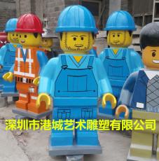 儿童游乐场迎宾玻璃钢乐高机器人雕像道具厂
