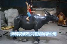 玻璃钢牧童骑牛雕塑农业装饰主题摆件定制厂