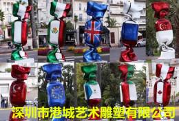 商業街裝飾大型玻璃鋼國旗糖果雕塑美陳擺件