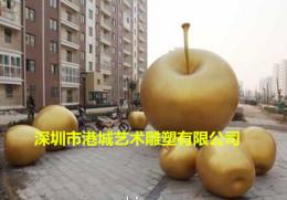 園林水果雕塑種植基地玻璃鋼蘋果雕塑擺件
