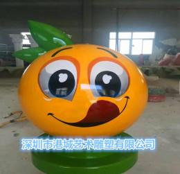 玻璃钢橘子雕塑蔬菜水果卡通公仔表情包定制