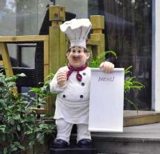 深圳西餐厅门面玻璃钢厨师雕塑落地摆件