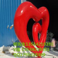 婚庆情人节布置场地玻璃钢红心形雕塑摆件