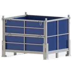 定做折叠式金属周转箱工厂堆垛料箱铁屑筐