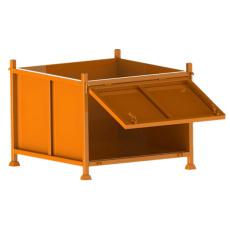 大号底部开门式折叠料筐可自卸金属周转箱