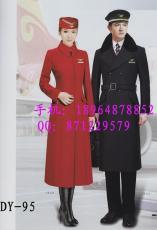 空姐導醫工作服毛呢大衣 加棉長款大衣 紅色
