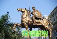 古代骑马战士人物玻璃钢雕像仿铜英雄定制