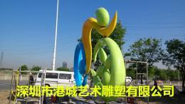 城市绿化绿道抽象运动体育骑自行车人雕像