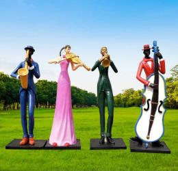 城市校园玻璃钢舞蹈抽象人物雕塑摆件