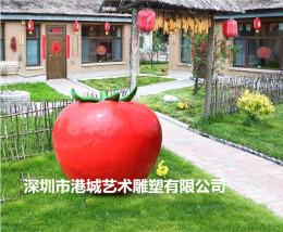 红红火火瓜果造型玻璃钢西红柿雕塑美陈摆设