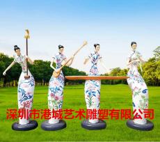 古装女雕像玻璃钢旗袍音乐仕女雕塑定制厂家