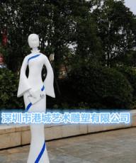 青花瓷古典仕女雕塑玻璃钢旗袍音乐人雕像价