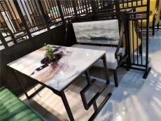 中式沙發卡座加大理石餐桌